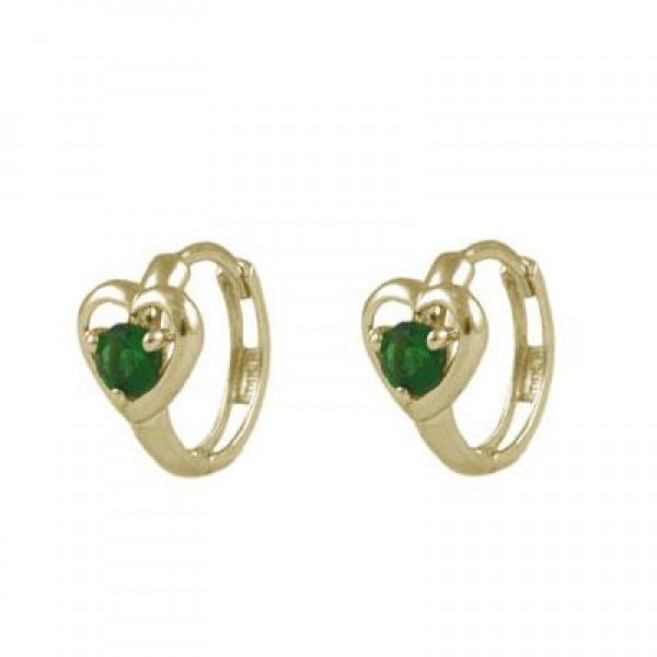 Baby And Toddler 14K Yellow Gold Heart May Birthstone Hoop Earrings