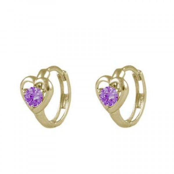 Baby And Toddler 14K Yellow Gold Heart June Birthstone Hoop Earrings