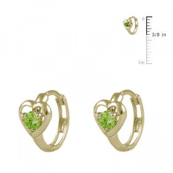 Baby And Toddler 14K Yellow Gold Heart August Birthstone Hoop Earrings