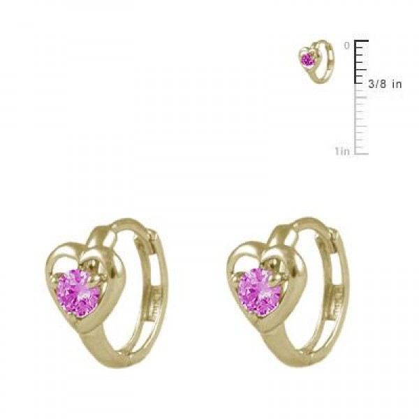 Baby And Toddler 14K Yellow Gold Heart October Birthstone Hoop Earrings