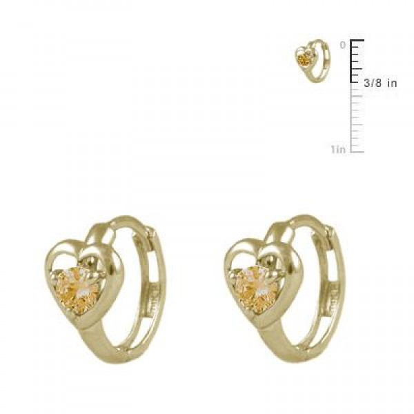 Baby And Toddler 14K Yellow Gold Heart November Birthstone Hoop Earrings