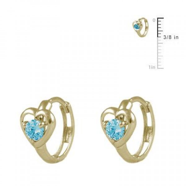 Baby And Toddler 14K Yellow Gold Heart December Birthstone Hoop Earrings