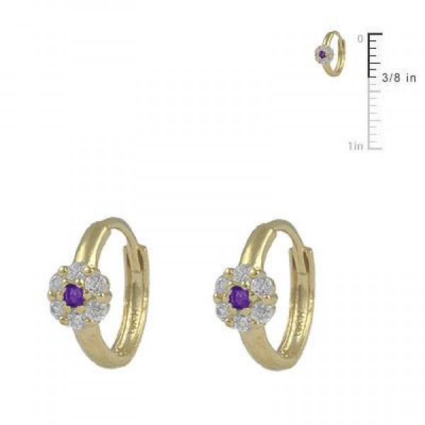 Girl's 14K Yellow Gold Flower CZ February Birthstone Huggie Hoop Earrings