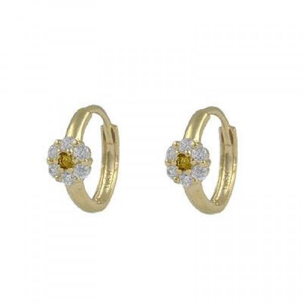 Girl's 14K Yellow Gold Flower CZ November Birthstone Huggie Hoop Earrings