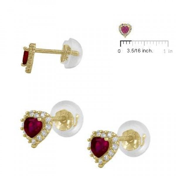 Little Girls 14K Yellow Gold January Birthstone Silicone Back Heart Earrings