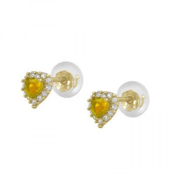 Little Girls 14K Yellow Gold November Birthstone Silicone Back Heart Earrings