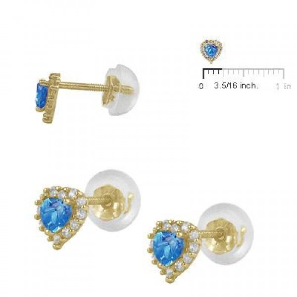 Little Girls 14K Yellow Gold December Birthstone Silicone Back Heart Earrings