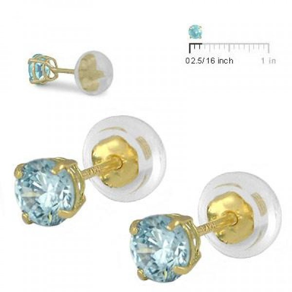 14K Yellow Gold 4mm March Birthstone Silicone Back Girls Earrings
