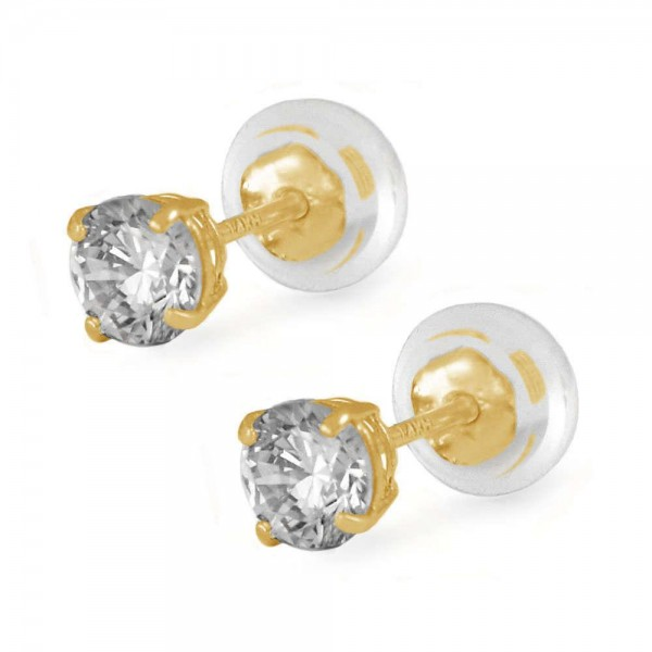 14K Yellow Gold 4mm April Birthstone Silicone Back Girls Earrings