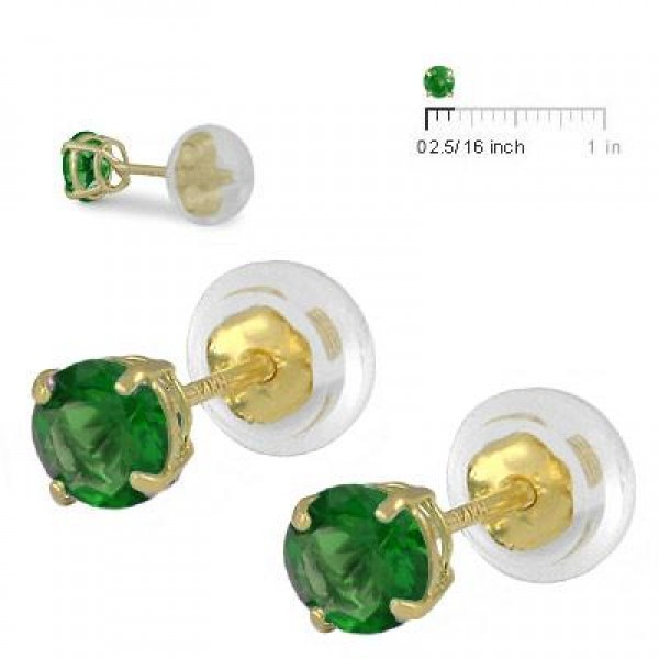 14K Yellow Gold 4mm May Birthstone Silicone Back Girls Earrings
