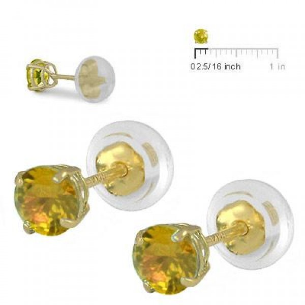 14K Yellow Gold 4mm November Birthstone Silicone Back Girls Earrings