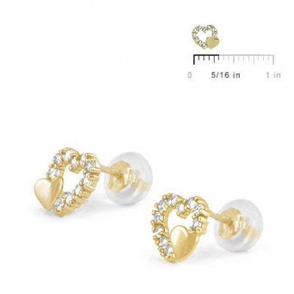 14K Yellow Gold April Birthstone Double Hearts Girls Stud Earrings
