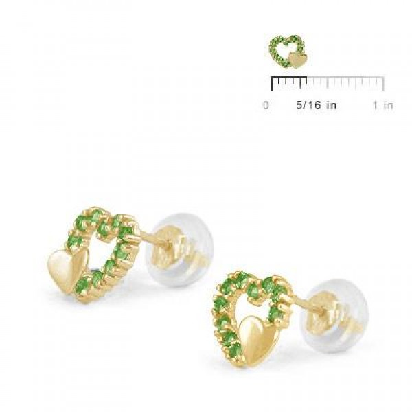 14K Yellow Gold May Birthstone Double Hearts Girls Stud Earrings