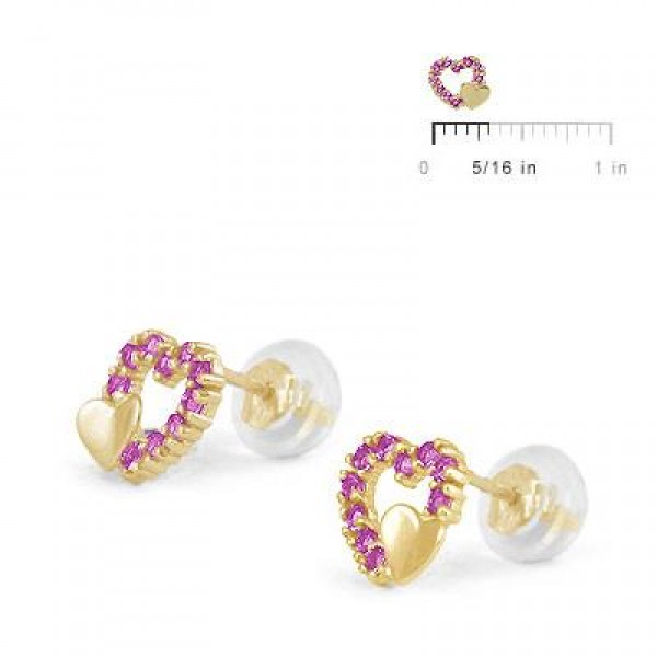 14K Yellow Gold July Birthstone Double Hearts Girls Stud Earrings