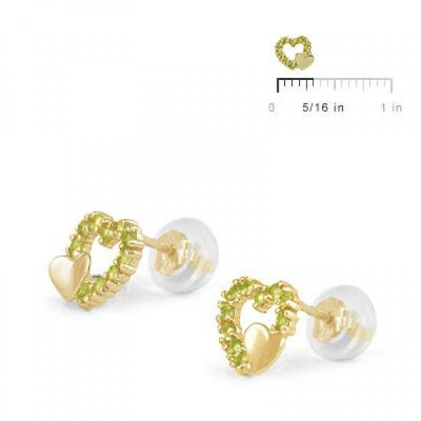 14K Yellow Gold August Birthstone Double Hearts Girls Stud Earrings