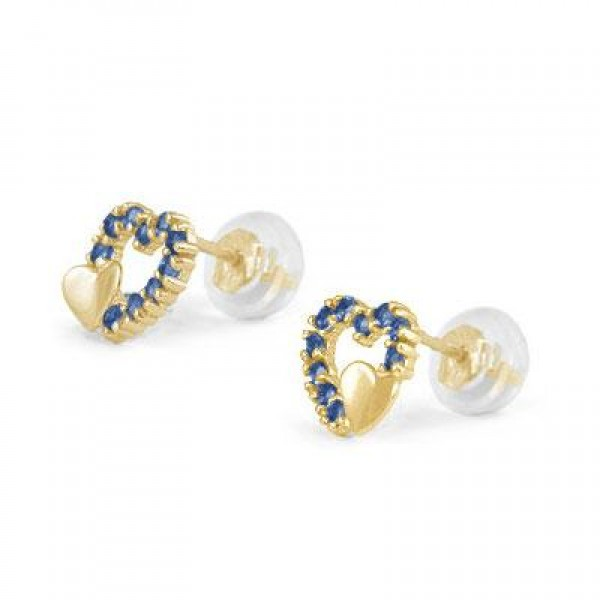 14K Yellow Gold September Birthstone Double Hearts Girls Stud Earrings