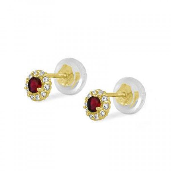 14K Yellow Gold January Birthstone Baby And Toddler Flower Earrings