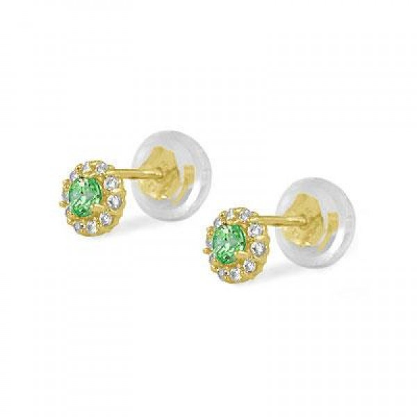 14K Yellow Gold May Birthstone Baby And Toddler Flower Earrings