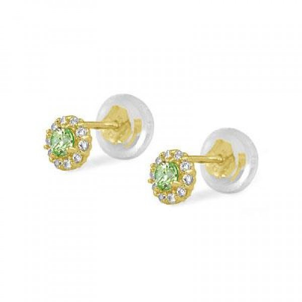 14K Yellow Gold August Birthstone Baby And Toddler Flower Earrings