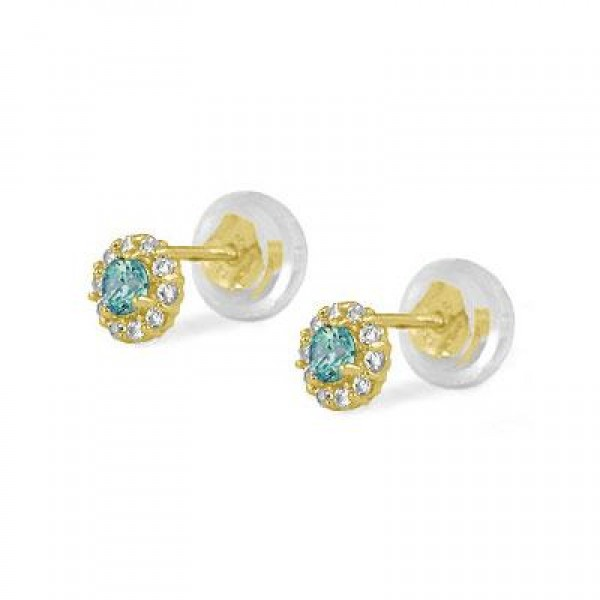14K Yellow Gold December Birthstone Baby And Toddler Flower Earrings