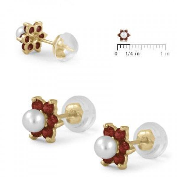 14K Yellow Gold January Birthstone And Pearl Flower Child Earrings