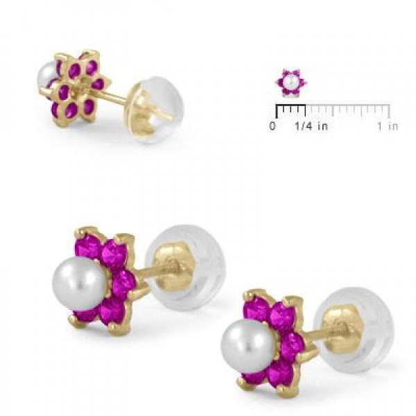 14K Yellow Gold July Birthstone And Pearl Flower Child Earrings