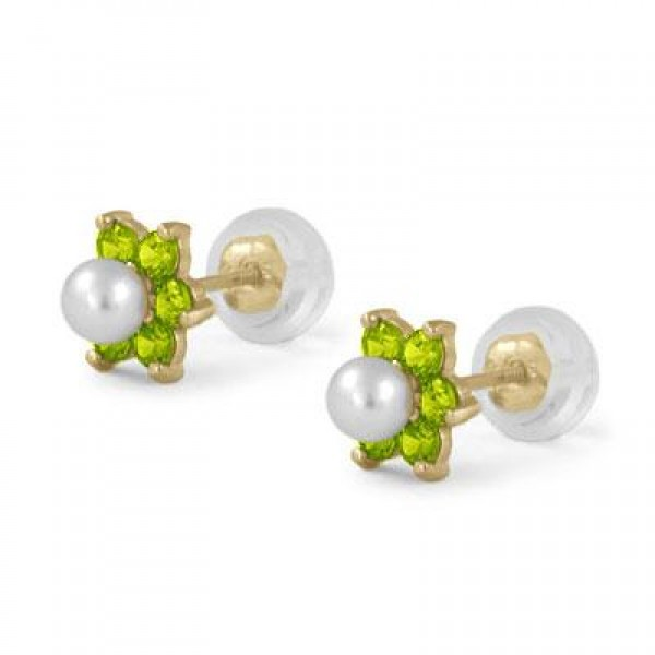 14K Yellow Gold August Birthstone And Pearl Flower Child Earrings