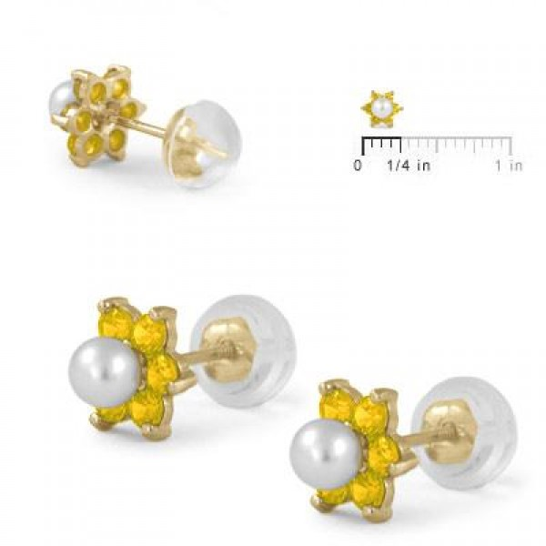 14K Yellow Gold November Birthstone And Pearl Flower Child Earrings