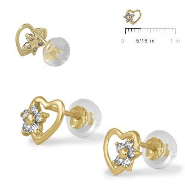 14K Yellow Gold Heart April Birthstone Flower Girls Stud Earrings
