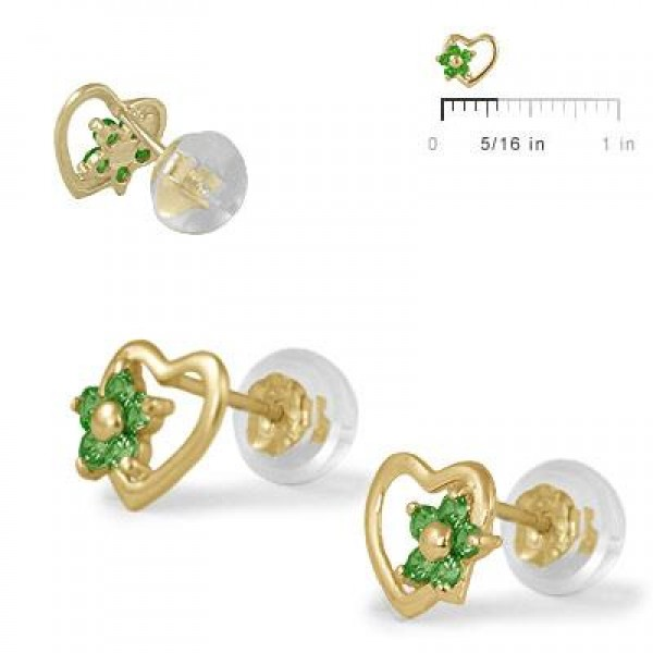 14K Yellow Gold Heart May Birthstone Flower Girls Stud Earrings