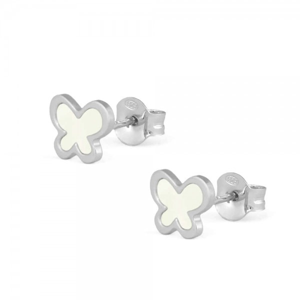Sterling Silver White Mother of Pearl Butterfly Earrings For Girls