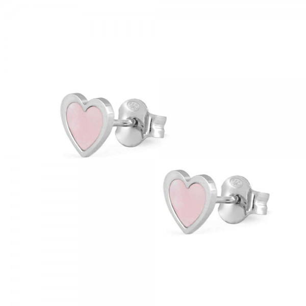 Sterling Silver Pink Mother of Pearl Heart Shaped Earrings For Girls