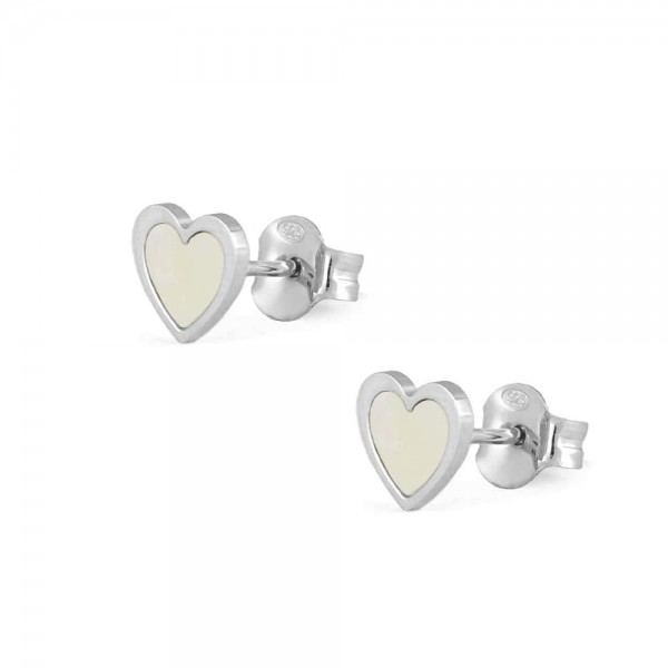 Sterling Silver White Mother of Pearl Heart Shaped Earrings For Girls