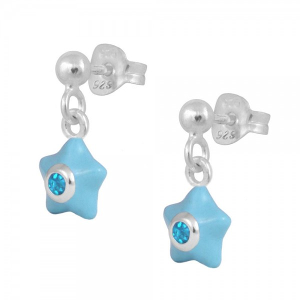 Sterling Silver Girl's March Birthstone Enamel Dangling Star Earrings