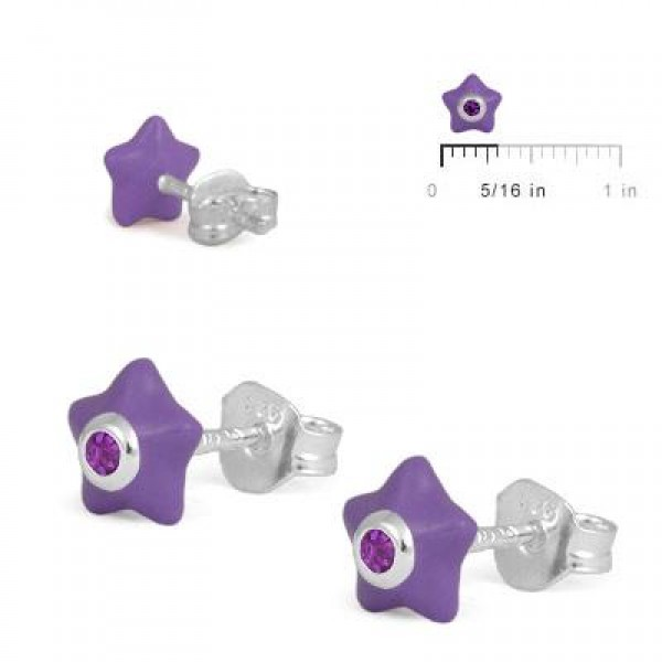 Sterling Silver Girls February Birthstone Star Stud Earrings