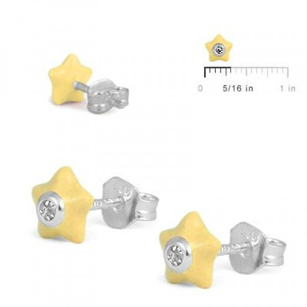 Sterling Silver Girls April Birthstone Star Stud Earrings