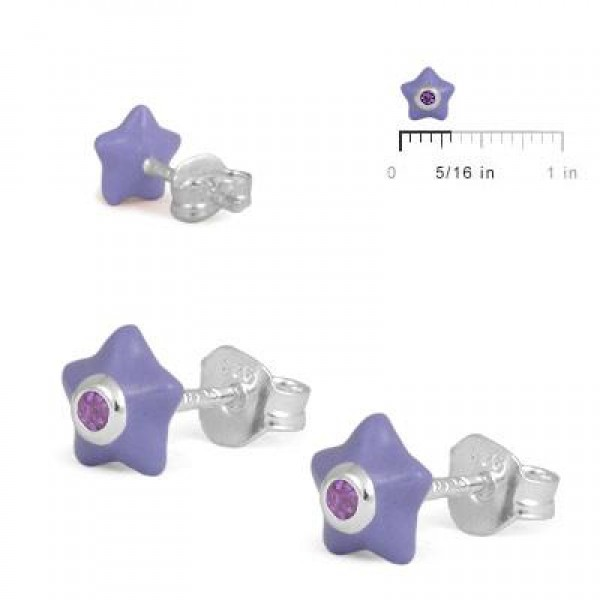 Sterling Silver Girls June Birthstone Star Stud Earrings