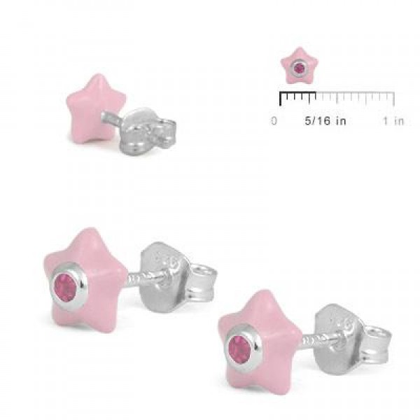 Sterling Silver Girls October Birthstone Star Stud Earrings