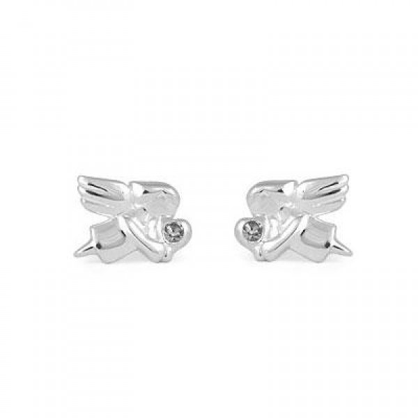 Child Jewelry - Girls Silver April Birthstone Angel Stud Earrings