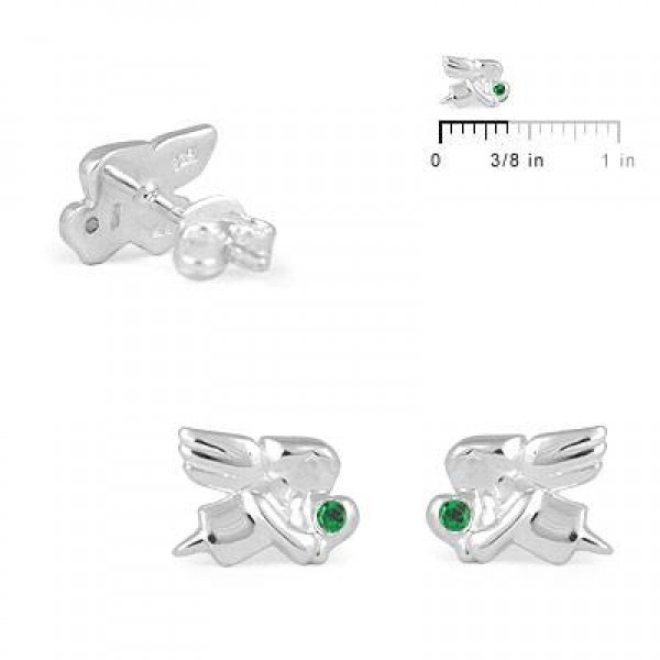 Child Jewelry - Girls Silver May Birthstone Angel Stud Earrings