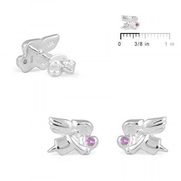 Child Jewelry - Girls Silver October Birthstone Angel Stud Earrings