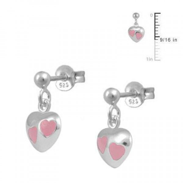 Girl's Jewelry - Sterling Silver Pink Enamel Dangling Heart Earrings