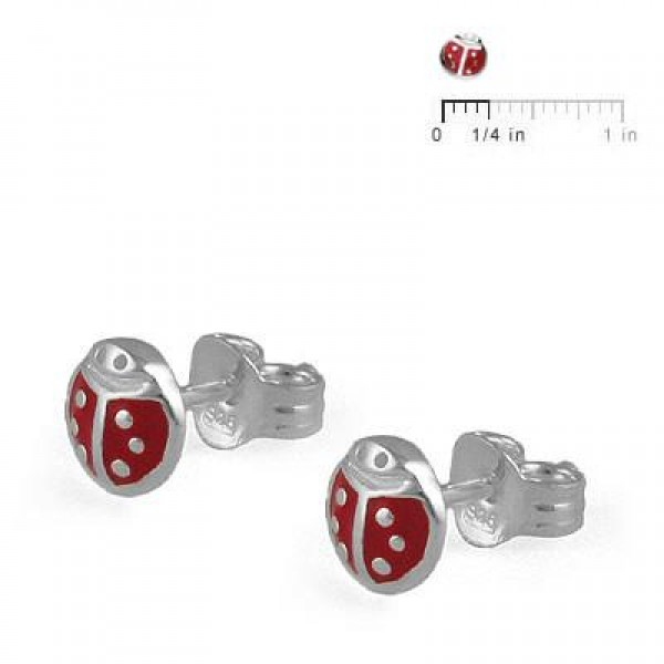 Children's Jewelry - Sterling Silver Ladybug Earring Studs For Girls