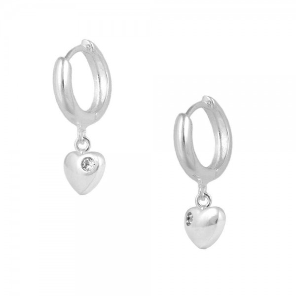 Girls Jewelry - Silver April Birthstone Heart Huggie Hoop Earrings