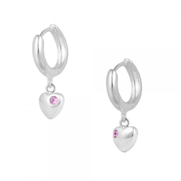 Girls Jewelry - Silver October Birthstone Heart Huggie Hoop Earrings