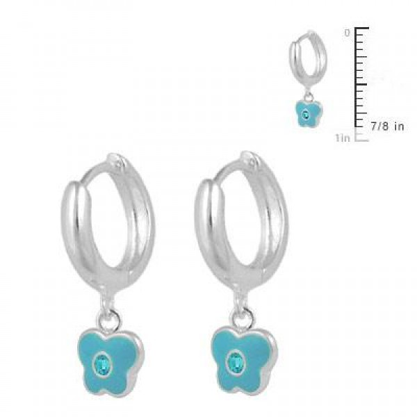 Girls Sterling Silver March Birthstone Butterfly Huggie Hoop Earrings