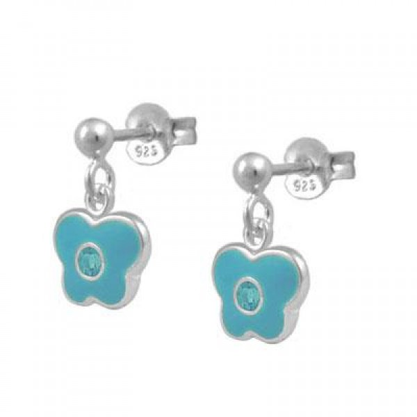 Girls Sterling Silver March Birthstone Butterfly Dangling Earrings
