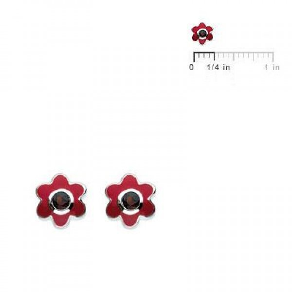 Kids Silver Flower January Birthstone Garnet Children's Earrings For Girls