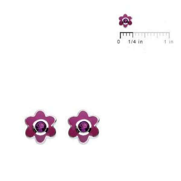 Kids Silver Flower February Birthstone Amethyst Children's Earrings For Girls