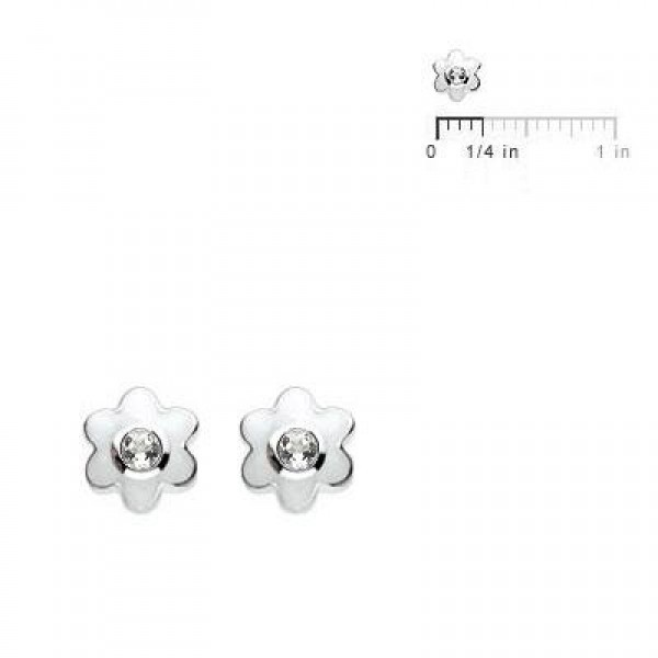 Kids Silver Flower April Birthstone Children's Earrings For Girls